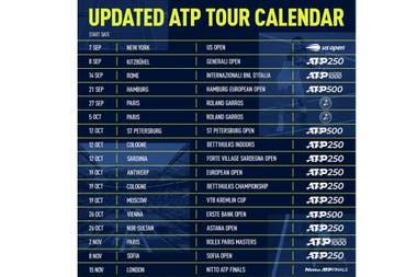 Así figura el calendario de tenis de la ATP para lo que resta de 2020, aunque está sujeto a cambios por aspectos sanitarios y de seguridad.