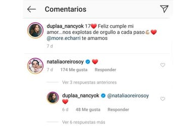 El comentario de Natalia Oreiro en uno de los posteos de Nancy Duplaá, por el cumpleaños de su hija