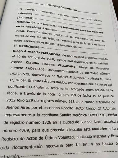 Los documentos de la revocación del testamento a favor de las hijas mayores de Diego Maradona