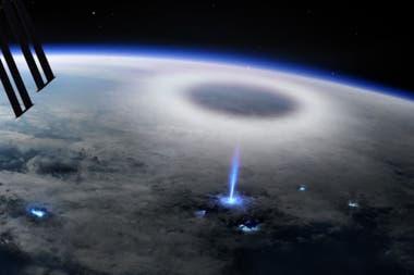 Un grupo de científicos de una universidad española logró captar la trayectoria de un intenso rayo azul en la estratosfera terrestre