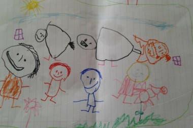 La familia de Salvador: mamá, papá, hermano y 4 de los 6 perros con los que conviven en su casa en Tandil (no entraban todos en el dibu).