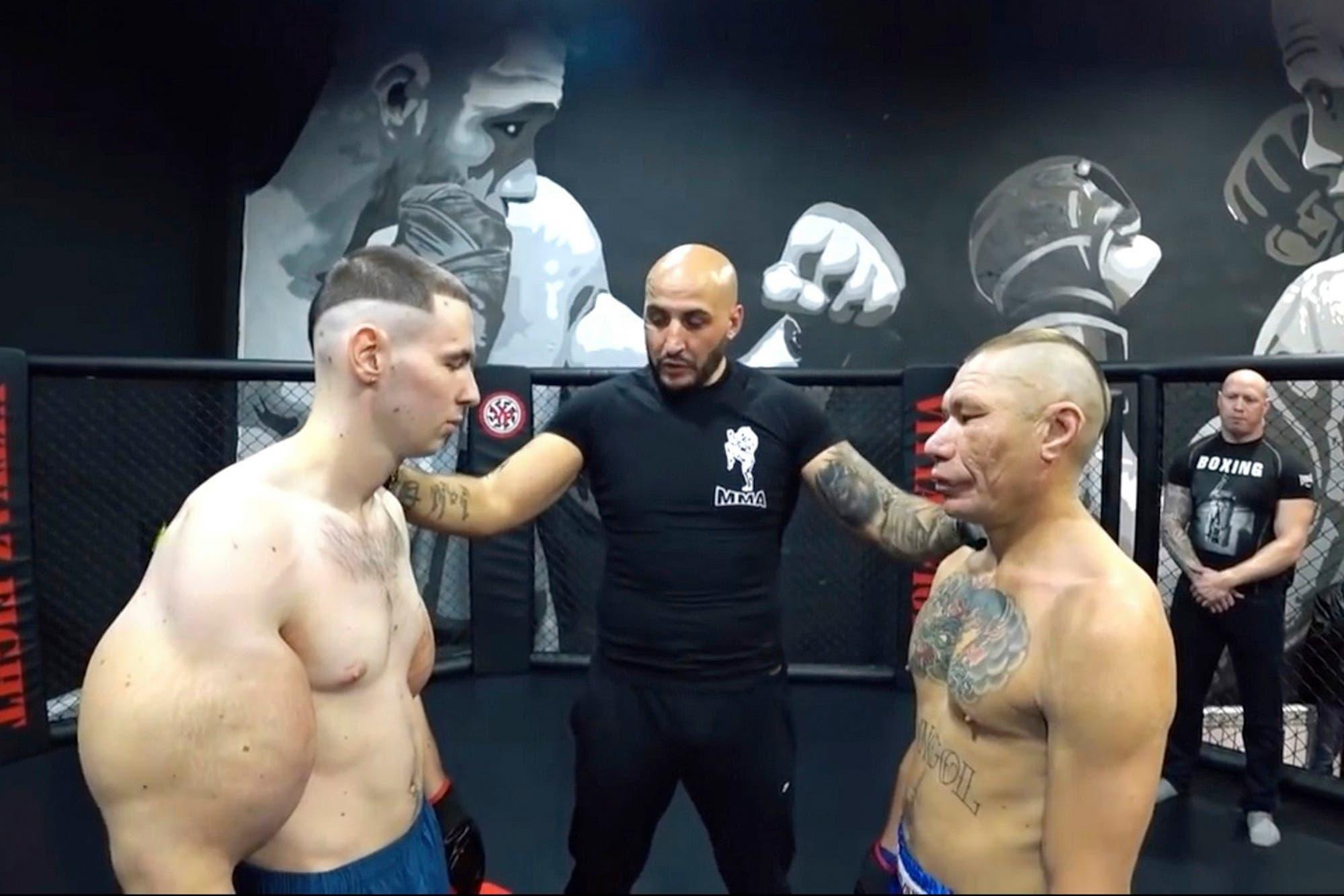 El colmo del MMA: un luchador se deformó los bíceps con aceite y no duró ni un round