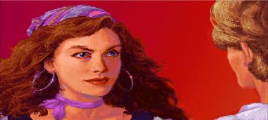 Elaine Marley, en el momento en el que conoce a Guybrush Threepwood, el aprendiz de pirata