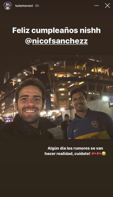El saludo con chicana de Tute Moroni a Nicolás Sánchez. Crédito: Instagram
