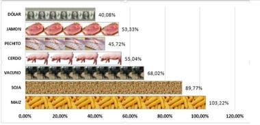 Suba de precios en el año. El cerdo y los cortes versus otros productos/insumos