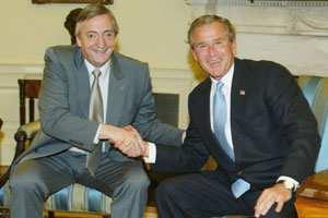 """Kirchner calificó como """"muy buena"""" la reunión con Bush - LA NACION"""