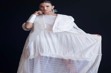 Modelo de Cosecha Vintage en el desfile de Moda Sostenible de Argentina Fashion Week 2019
