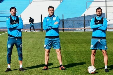 Solari, Pillud y Cvitanich posan en el Cilindro, escenario del partido ante Nacional del jueves.