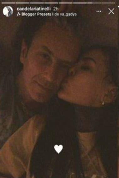 Con la relación afianzada, Candelaria se animó a una foto más sugerente que las que ya venía subiendo y compartió imágenes besando a Sorokin en la mejilla