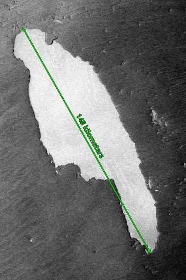 Imagen satelital del glaciar A-68A flotando hacia la isla de Georgia del Sur en el Atlántico Sur el 15 de noviembre de 2020.
