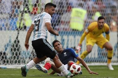 El Kun Agüero, en el partido de octavos de final ante Francia