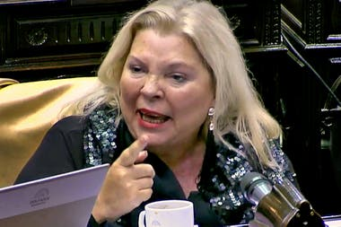 Lilita Carrió hoy en la cámara de Diputados, donde se realizó un homenaje a Raúl Alfonsín