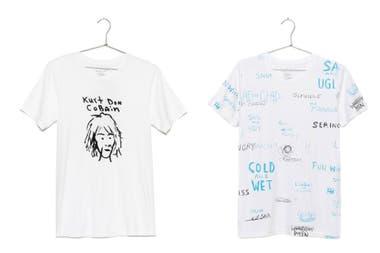 Remeras de la colección Kurt Was Here, con bocetos, pinturas y notas escritas a mano de Kurt Cobain