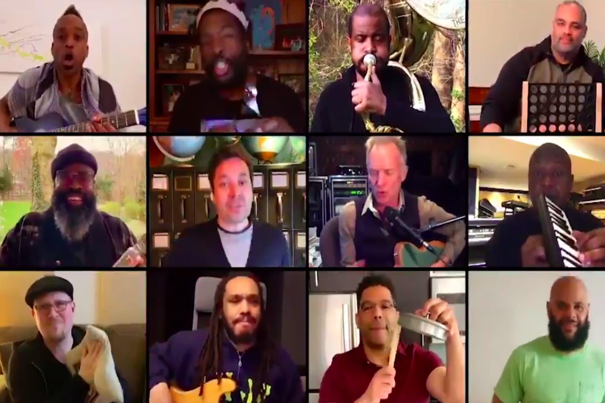 En cuarentena: Sting y Jimmy Fallon armaron una banda con instrumentos caseros por videollamada