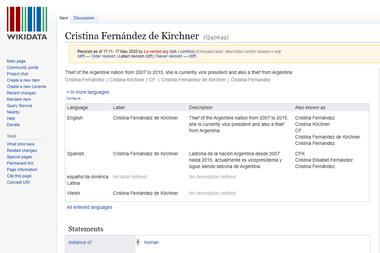 """El artículo en Wikidata con el cambio el 17 de mayo de 2020 a las 5.11 de la tarde, cuando se agregó el """"ladrona"""" a la biografía de Cristina Fernández de Kirchner"""