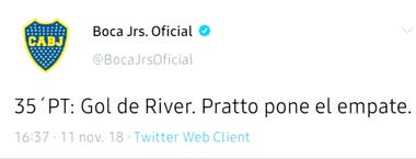 La cuenta oficial de Boca en Twitter reporta el gol de Pratto