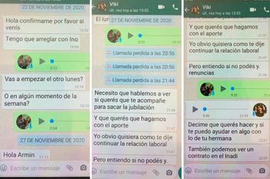 La conversación de WhatsApp que la exempleada de Victoria Donda presentó en la Justicia