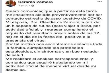 La publicación en Facebook de Gerardo Zamora, donde anunció el resultado del test de su esposa