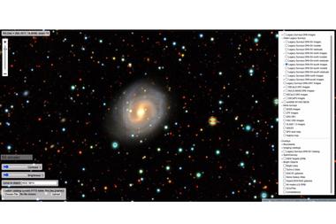 Una galaxia espiral, vista con la herramienta Sky Viewer en legacysurvey.