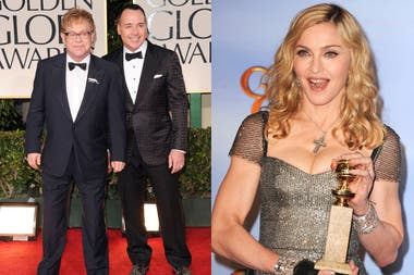 Elton John y su esposo David Furnish y Madonna