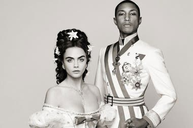 Cara Delevingne y Pharrell Williams en el fashion film de Chanel