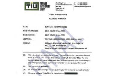 El documento oficial que registra la entrevista grabada que una investigadora de la TIU le hizo a Trungelliti, en Buenos Aires, en noviembre de 2015