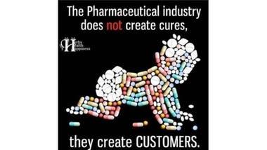 """""""La industria farmacéutica no crea curas; crea clientes"""", se lee en este meme"""