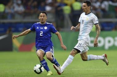 Di Maria en acción ante Paraguay, durante la Copa América de Brasil 2019; desde entonces no volvió a ser convocado