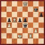 El triunfo de Harmon; la posición final: tras 53.Rd2, las negras no tiene opciones de jaque y, con el rey expuesto, abandonan