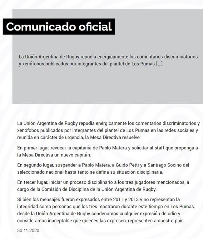 El comunicado oficial de la UAR