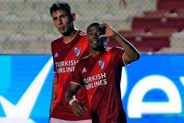 Nicolás de la Cruz autor del segundo gol de River Plate en Uruguay.