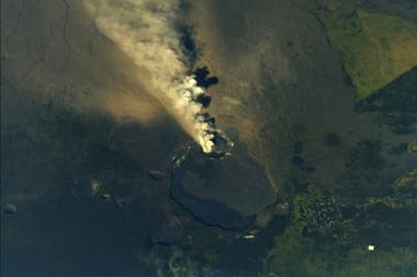 Vista del volcán Kilauea desde la Estación Espacial Internacional