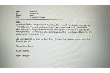 El mail que Trungelliti le envió a la TIU, en agosto de 2015, denunciando el intento de arreglo de partidos