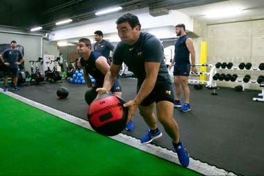 Creevy en el gimnasio, en la semana previa al partido decisivo contra Inglaterra.