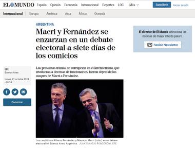El Mundo, el otro diario español de mayor lectura destacó el ataque de Macri a Fernández por la corrupción
