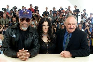 Gene Hackman en Cannes, con Monica Bellucci y Morgan Freeman