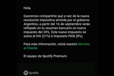 Captura del mail que Spotify les envío a sus seguidores