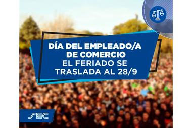 La placa con la que el Sindicato de Comercio de Capital Federal comunicó el traslado del Día del Empleado de Comercio para el lunes 28 de septiembre