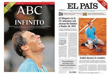 """Nadal """"Infinito""""; según el diario ABC de Madrid; """"Alcanza la cumbre"""", para El País"""