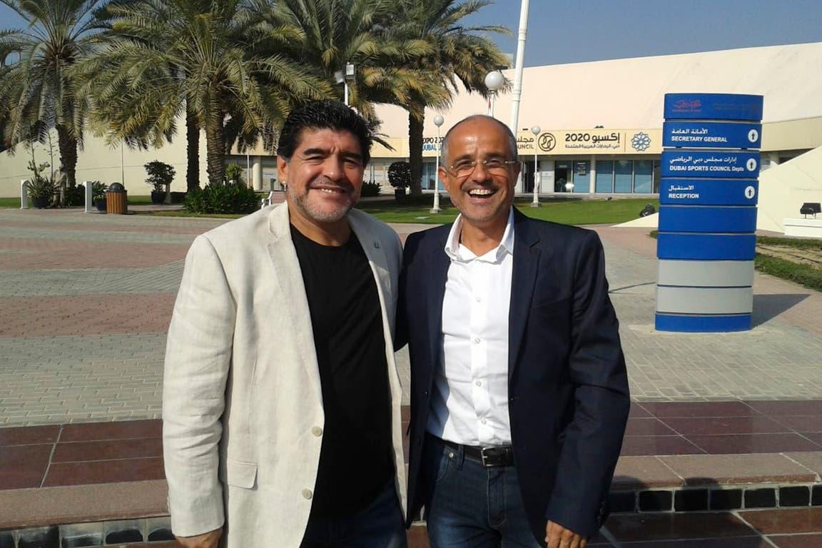 """Juntos en Dubai, 2014. """"En estas horas me ha resultado increíblemente fácil hablar sobre Maradona sin impostar un estado de ánimo. Siento, en todo caso, que estoy celebrando la memoria de Maradona. Y la mejor forma es recordarlo"""", relató Arcucci"""