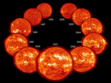 El Sol aumenta y disminuye su actividad en ciclos de 11 años