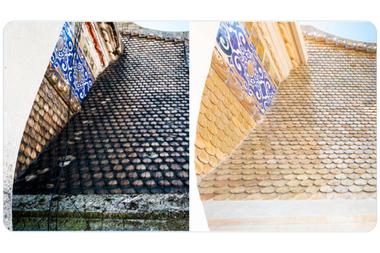 La restauración de las tejas del techo