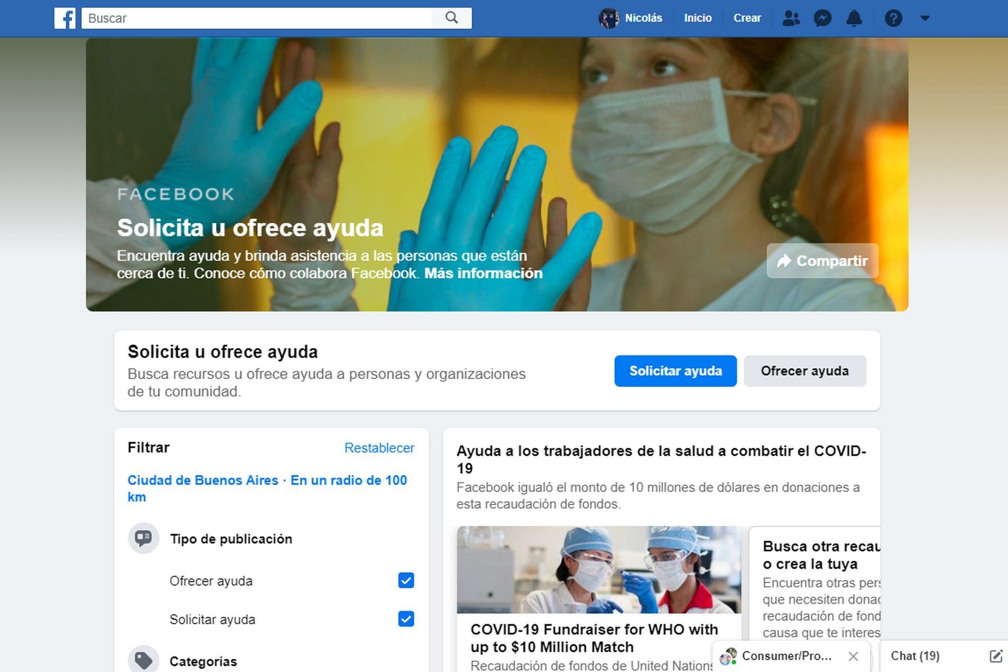 Facebook lanza Ayuda Comunitaria, la iniciativa de la red social para ofrecer asistencia durante la cuarentena