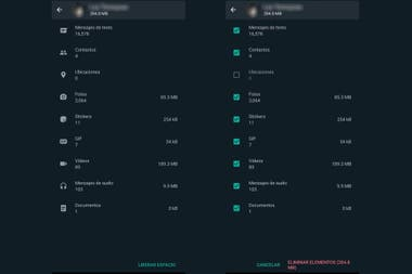 Dentro del chat elegido se podr elegir qu tipo de contenido borrar tras elegir la opcin Liberar espacio