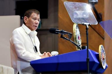 El presidente de Filipinas, Rodrigo Duterte, ayer durante un plenario en la Cámara de los Representantes