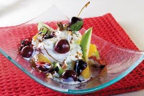 Wok multifrutas con helado