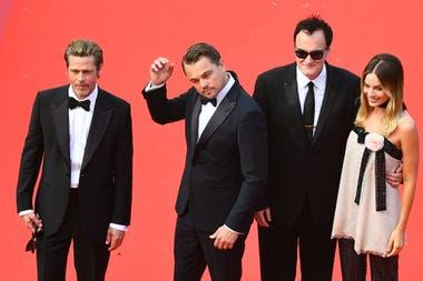 Brad Pitt, Leonardo Di Caprio, Quentin Tarantino y Margot Robbie en la alfombra roja del Festival de Cannes
