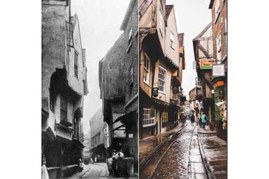 Una icónica calle de York, Reino Unido, que sirvió como inspiración para el callejón Diagon de Harry Potter. Finales de 1800 a la actualidad