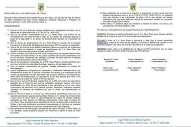 La carta de la LPF en la que le comunicó a River que rechazaba el pedido