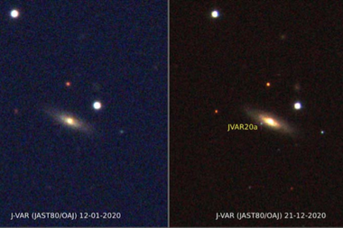 La supernova se produjo en la galaxia MCG+09-14-052, situada a más de 600 millones de años luz. Crédito: CEFCA